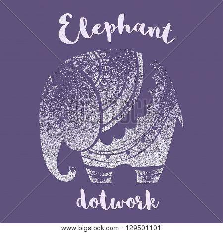 Greeting Beautiful card with Elephant. Frame of animal made in vector. Elephant Illustration for design, pattern, textiles. Hand drawn map with Elephant. Use for children clothes, pajamas, web sites