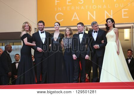 Dominic West, Caitriona Balfe, Jodie Foster, Jack O'Connell,Julia Roberts, George Clooney at the Money Monster Premiere for