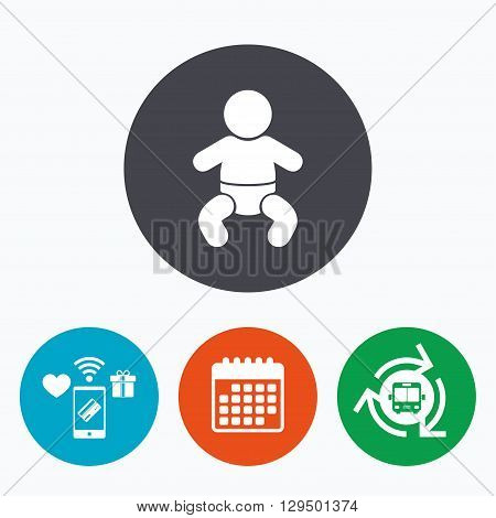 Baby infant sign icon. Toddler boy with diapers symbol. Child WC toilet. Mobile payments, calendar and wifi icons. Bus shuttle.