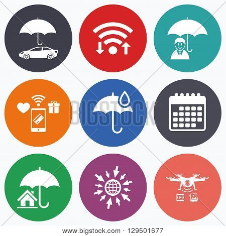 Wifi, mobile payments and drones icons. Life, Real estate or Home insurance icons. Umbrella with water drop symbol. Car protection sign. Calendar symbol.