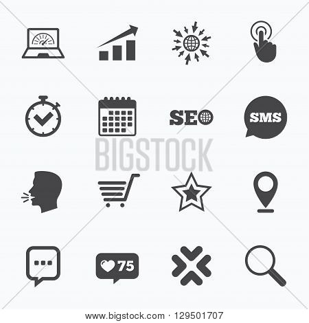 Calendar, go to web and like counter. Internet, seo icons. Online shopping, charts and speed signs. Chat messages symbol. Sms speech bubble, talk symbols.