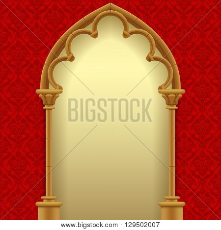 Gothic gate with red classic decorative background. Vintage architecture frame. Easy to place any your background instead of white. Vector Illustration