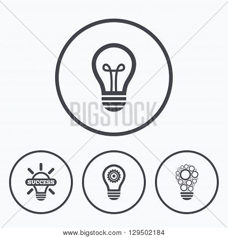 Light lamp icons. Circles lamp bulb symbols. Energy saving with cogwheel gear. Idea and success sign. Icons in circles.