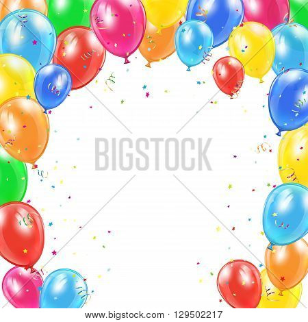 Happy Birthday background with frame from flying colorful balloons, tinsel and confetti, illustration.