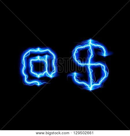 At-symbol and Dollar symbol in lighting style