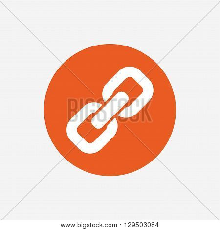 Link sign icon. Hyperlink chain symbol. Orange circle button with icon. Vector