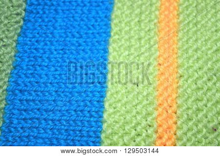 close up knitted texture fabric background in green  blue wool