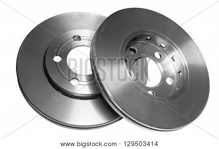 Car brake discs isolated on white background