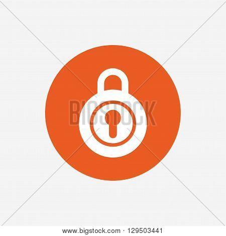 Lock sign icon. Locker symbol. Orange circle button with icon. Vector