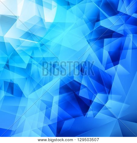 Iridescent blue background seamless pattern of polygonal