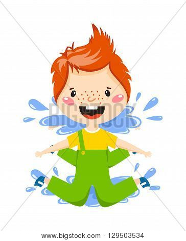 Playful boy jumping in puddle on rainy autumn day vector illustration. Boy in puddle fun water rain child and boy in puddle little weather childhood. Spring splash play boy in puddle rainy happy jump.