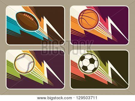 Set of different sport illustrations. Vector illustration.