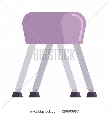 Sports pommel in gym isolated. Pommel horse flat vector and sport gym pommel horse. Pommel horse sport competition athlete gymnast. Pommel horse health body. Pommel horse training balance.