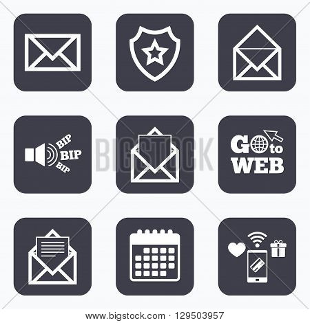 Mobile payments, wifi and calendar icons. Mail envelope icons. Message document symbols. Post office letter signs. Go to web symbol.