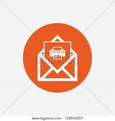 Mail print icon. Envelope symbol. Message sign. Mail navigation button. Orange circle button with icon. Vector