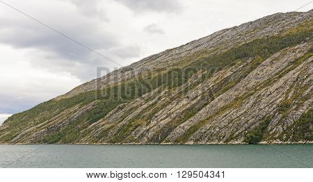 Eroded Granite Hills along the Beagle Channel in Tierra del Fuego in Chile