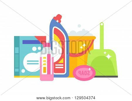 Set tools for cleaning isolated on white background. Vector illustration home chemistry isolated. Home chemistry isolated liquid hygiene and home chemistry isolated domestic spray housework.