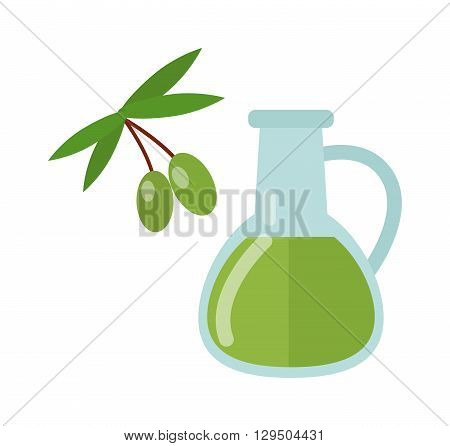 Glass bottle of premium virgin olive oil and some olives with leaves isolated on a white background. Bottle of olive oil with green olives and olive oil labels. bottle with olive oil.