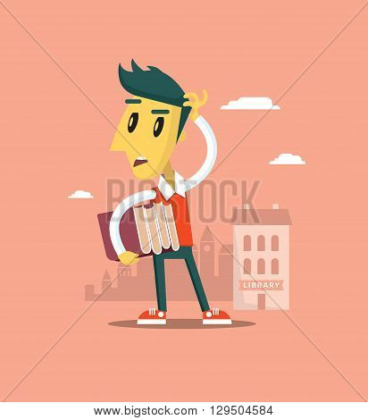Boy looking for library. Man with books looks around. Vector city. Creative illustration.