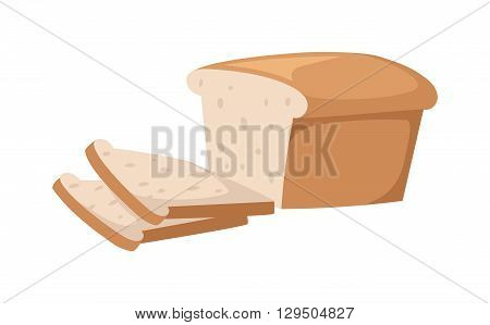 Sliced bread isolated on white background. Bread slices vector food and fresh tasty bread slices. Bread slices breakfast loaf white wheat and bread slices diet crust natural eat fresh bake.