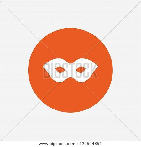 Mask sign icon. Anonymous spy access symbol. Orange circle button with icon. Vector