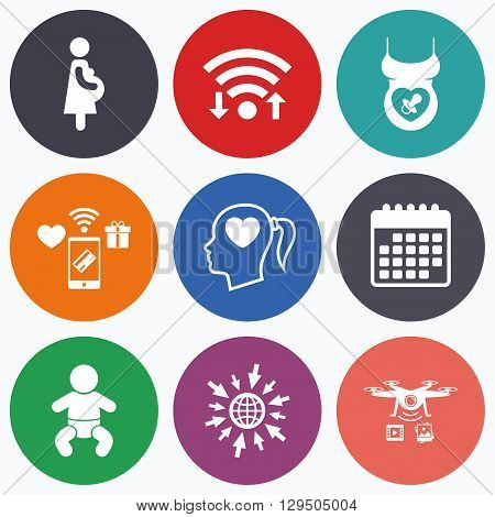Wifi, mobile payments and drones icons. Maternity icons. Baby infant, pregnancy and dummy signs. Child pacifier symbols. Head with heart. Calendar symbol.