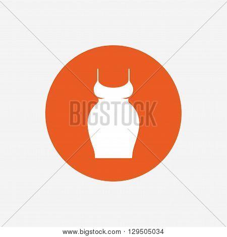 Pregnant woman dress sign icon. Maternity clothing symbol Orange circle button with icon. Vector