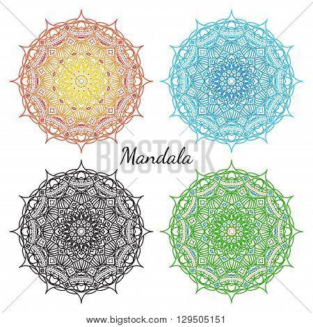 Mandala set. East round ornament. Vector decorative element and symbol.