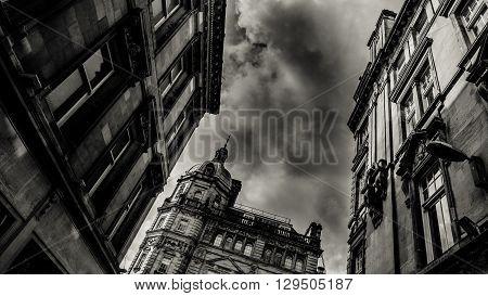 Buchanan Street Architecture In Glasgow Scotland Under Rainy Sky