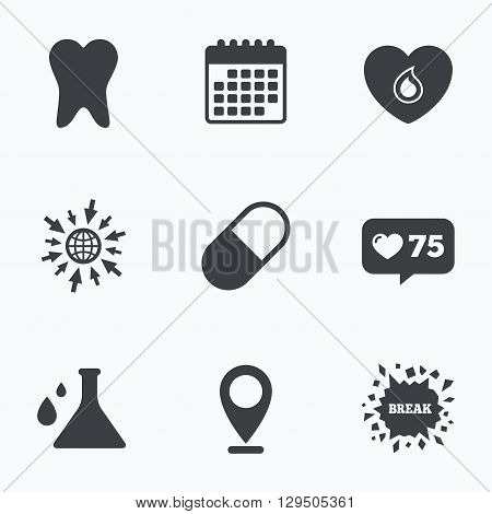 Calendar, like counter and go to web icons. Maternity icons. Pill, tooth, chemistry and heart signs. Blood donation symbol. Lab bulb with drops. Dental care. Location pointer.