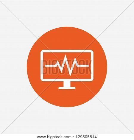 Cardiogram monitoring sign icon. Heart beats symbol. Orange circle button with icon. Vector