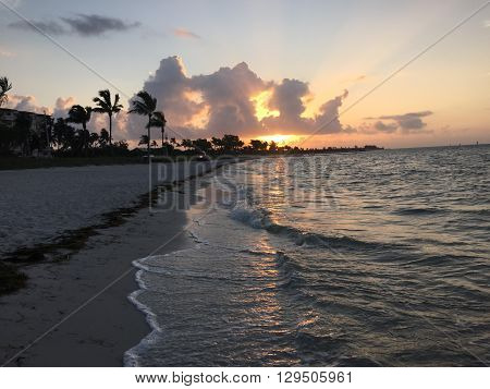 Sunrise off Smathers Beach in Key West, Florida. May, 2016.