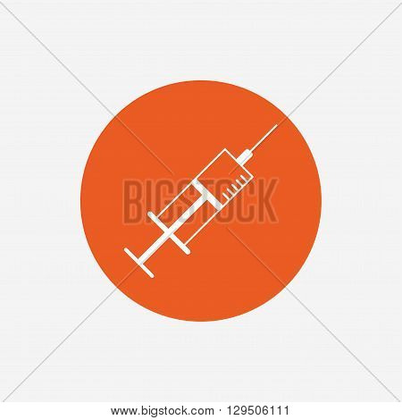Syringe sign icon. Medicine symbol. Orange circle button with icon. Vector