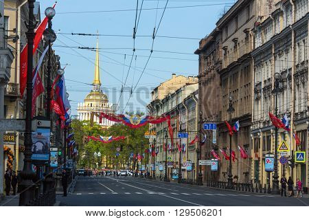St.PETERSBURG, RUSSIA - MAY 9, 2016: Traffic on Nevsky prospect is suspended due to military parade on Palace Square, timed to 71st anniversary of the Victory in the great Patriotic war.