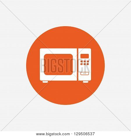 Microwave oven sign icon. Kitchen electric stove symbol. Orange circle button with icon. Vector