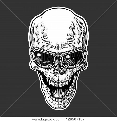 Skull smiling with glasses for motorcycle. Black vintage vector illustration. For poster and tattoo biker club. Hand drawn design element isolated on dark background