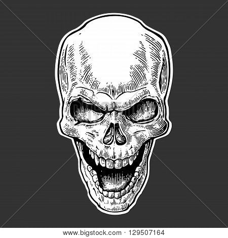 Skull human with a smile. Black vintage vector illustration. For poster and tattoo biker club. Hand drawn design element isolated on dark background