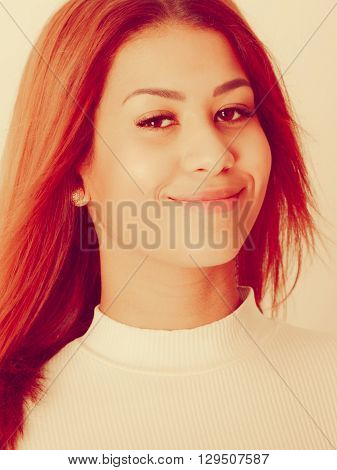 People fashion concept. Portrait of mulatto lady. Beautiful young woman wearing white top nice outfit.