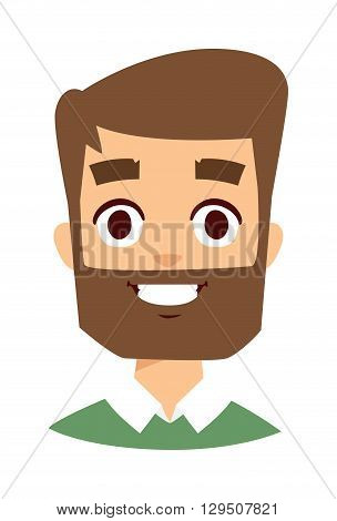 Portrait of a smiling man, isolated on a white background. Happy man face vector icon and happy man face cute flat avatar adult person. Happy man face handsome guy attractive casual man.