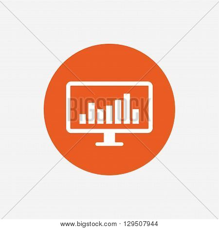 Computer monitor sign icon. Market monitoring. Orange circle button with icon. Vector