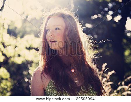 Cute Adolescence Pretty Outdoor Park Portrait Concept