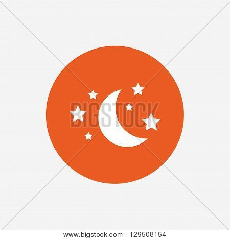 Moon and stars icon. Sleep dreams symbol. Night or bed time sign. Orange circle button with icon. Vector