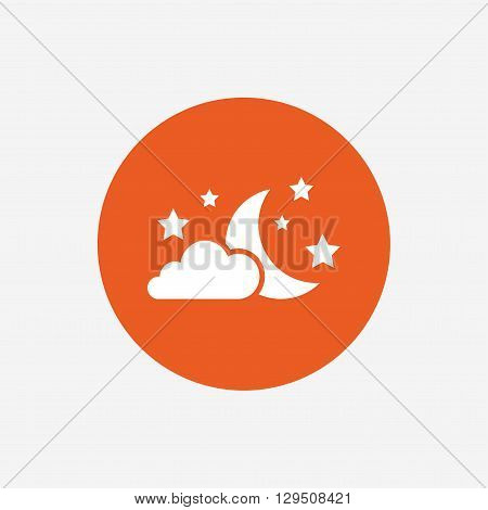 Moon, clouds and stars icon. Sleep dreams symbol. Night or bed time sign. Orange circle button with icon. Vector