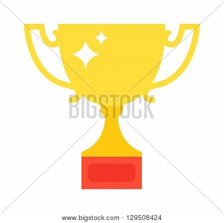 Golden trophy isolated on white background. Award cup vector and gold award cup. Award cup victory success winner sport prize. Gold place competition championship gold award. Contest reward.