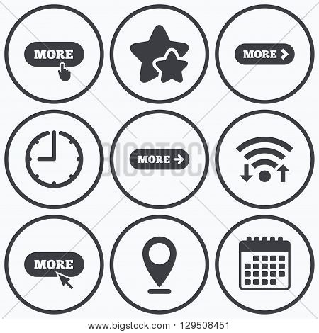 Clock, wifi and stars icons. More with cursor pointer icon. Details with arrow or hand symbols. Click more sign. Calendar symbol.