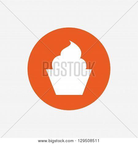 Muffin sign icon. Cupcake symbol. Orange circle button with icon. Vector
