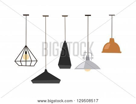 Different table lamps isolated on white background. Lamps isolated vector electrical design and table lamps bulb isolated. Lamps isolated interior, design and bright equipment desk lamps isolated.