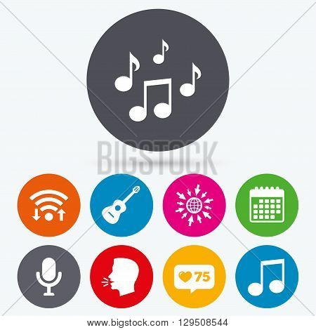 Wifi, like counter and calendar icons. Music icons. Microphone karaoke symbol. Music notes and acoustic guitar signs. Human talk, go to web.