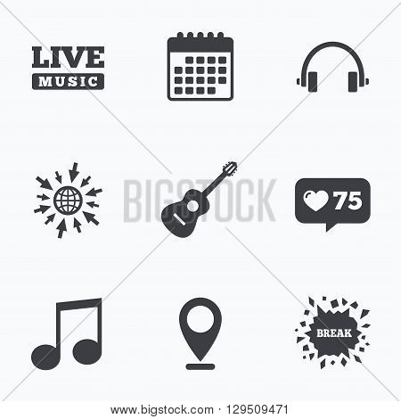 Calendar, like counter and go to web icons. Musical elements icons. Musical note key and Live music symbols. Headphones and acoustic guitar signs. Location pointer.