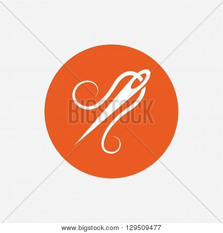 Needle with thread icon. Tailor symbol. Textile sew up craft sign. Embroidery tool. Orange circle button with icon. Vector